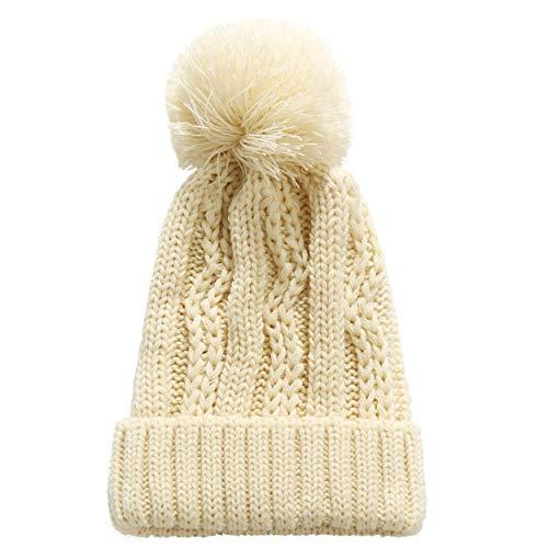 - SSLR Big Kids Thick Knitted Cuffed Winter Pom Pom Beanie Hat (One Size, Beige)