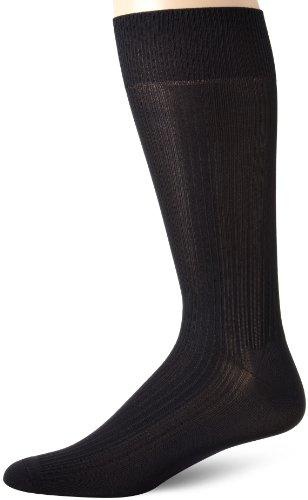 Perry Ellis Men's Varigated Rib Microfiber Luxury Dress Sock, Black, Sock Size:10-13/Shoe Size: 6-12