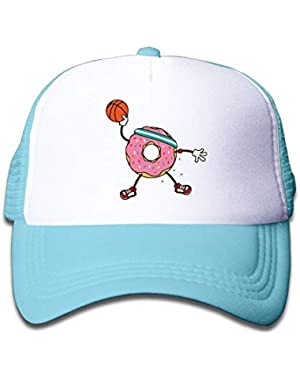 Basketball Donut On Kids Trucker Hat, Youth Toddler Mesh Hats Baseball Cap