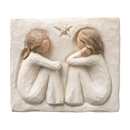 Willow Tree Friendship Plaque, Sculpted Hand-Painted bas Relief