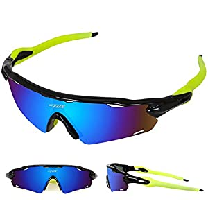 Batfox Polarized Sports Sunglasses Glasses Interchangeable Lenses Tr90 Unbreakable Frame for Running Cycling Baseball Fishing Outdoor 100% UV Protection Women Men Youth(Green, F-868)
