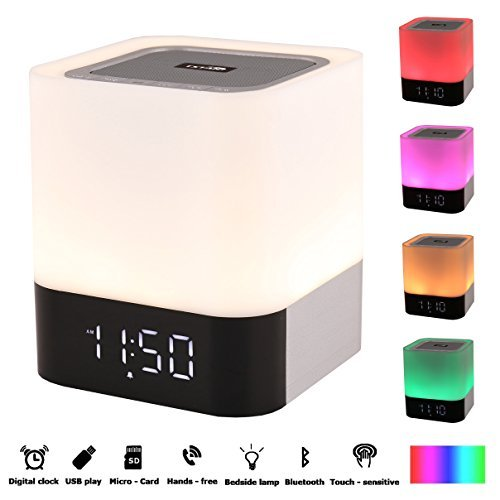 Wireless Bluetooth 4.0 Speaker Portable HIFI Stereo with Led Light Lamp and Alarm Clock, Hands-free Calls,Quality Sound, Touch Sensor, MP3 Player, Support SD TF Card, 3.5mm AUX Jack (Call Led)