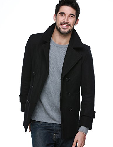 "Match Men's Wool Blend Buttoned Top Coat (US L/CN 3XL (Fit 42""-43""), WB-010 Black) Image"