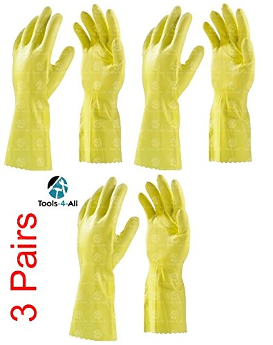 Tools-4-All Clean and Clever Flocklined Rubber Hand Gloves (Yellow, 4921) - Set of 3 Pairs
