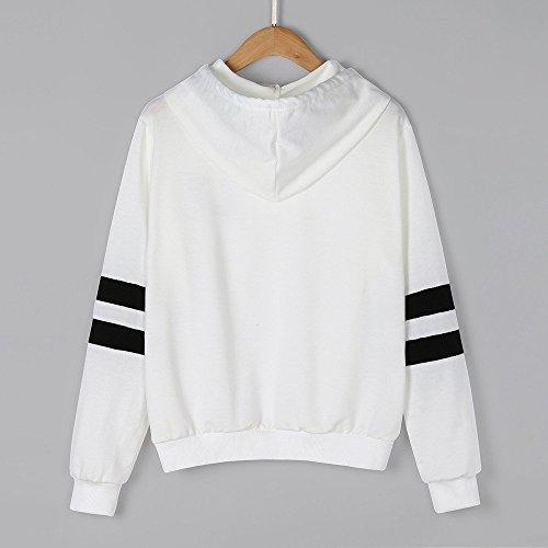 Pullover Cime Bianca Felpe shirt Camicetta Cappuccio Casuale Magliette Moda Tee Elegante Tops Manica Donne Abbigliamento Crop Donna T Inverno Camicie Stampato Lunga Damark wxg7zBqnf