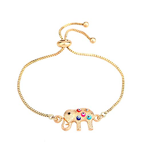 MIXIA Cute African Crystal Elephant Animal Bracelet Colorful Enamel Evil Eye Bracelets Bangle for Women Gift with Adjustable Box Chain