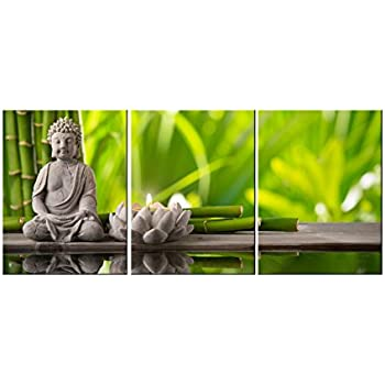 Amoy art 3 panels modern buddha canvas wall art prints picture oil painting on canvas for