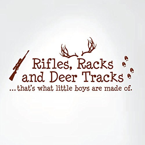 Rifles Racks And Deer Tracks That's What Little Boys Are Made Of Wall Decal Sign Little Boys Sticker Kids Room Decor Hunter Room Decal #1279 (28