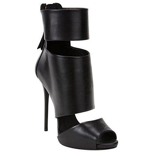 Stivali Tacco Black con Festa Nero peep Sandalo Piattaforma toe Donna Sera Caviglia Sandali Alto per Cerniera Nozze Scarpe a spillo xAppwO7qHY