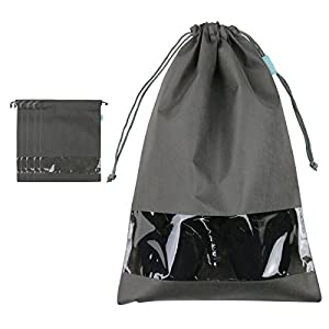 iwill CREATE PRO Portable Traveling Shoe Organizer Storage Bags With Draw String Closure, View Window, Two Size & Colors, Cute & Durable, Pack Of 5