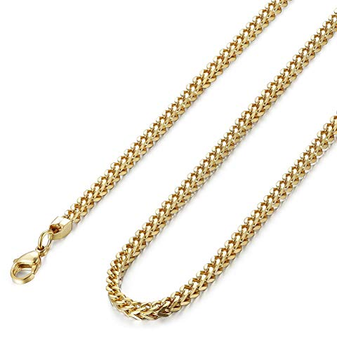 FIBO STEEL 3-6mm Thick Curb Chain Necklace for Men Stainless Steel Biker, 20-30 inches (3mm 22