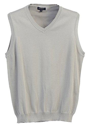 Gioberti Mens V-Neck Cotton Solid Sweater Vest, Gray, 2X Large