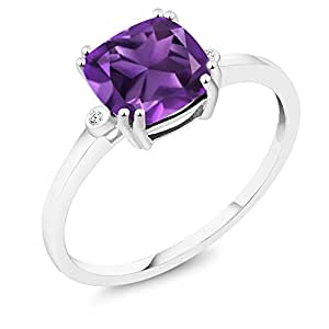 10K White Gold Cushion Purple Amethyst with Diamond Accent Ring (2.05 Cttw, Available In Sizes 5,6,7,8,9)