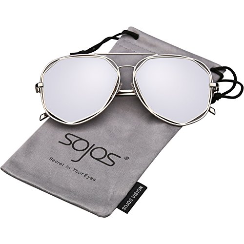 SojoS Aviator Sunglasses Metal Frame Flat Mirrored Lens SJ1004 With Silver Frame/Silver Mirrored - Khloe Sunglasses Kardashian