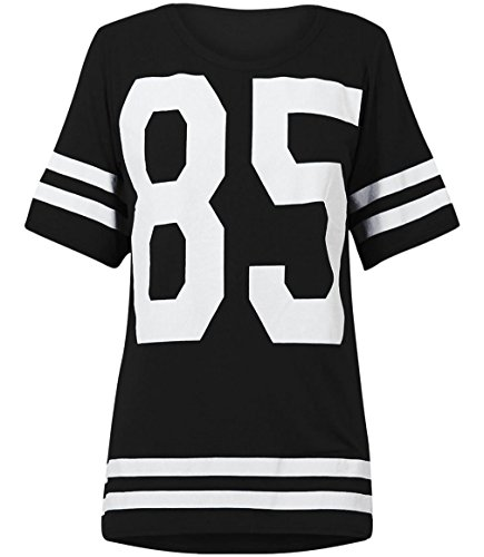 Womens Oversize 85 Football Style Jersey T-shirt (Sty) (8/10 (uk 12/14), Black) Football Oversized T-shirt