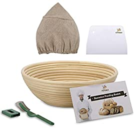 10 Inch Bread Proofing Basket - Banneton Proofing Basket + Cloth Liner + Dough Scraper + Bread Lame + Starter Recipe Set - Sourdough Basket Set For Professional and Home Bakers Artisan Bread Making 65 PERFECT SIZE FOR BAKING BREAD: 10-inch diameter x 3.5-inch height allows for 1.5lbs of dough for a medium to large size loaf ECO FRIENDLY MATERIAL: Made from 100% natural rattan and comply with US food standards, Lightweight, extremely durable and easy to use GREAT VALUE: Proving Basket + FREE DOUGH SCRAPER + FREE LINER + FREE BREAD LAME + FREE SOURDOUGH STARTER TUTORIAL
