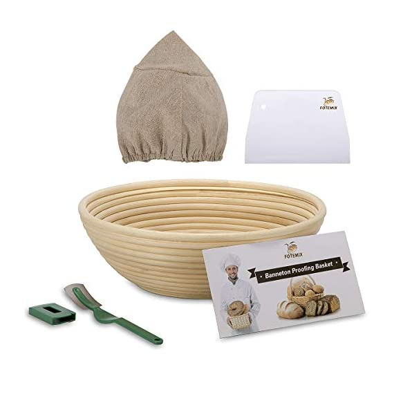 10 Inch Bread Proofing Basket - Banneton Proofing Basket + Cloth Liner + Dough Scraper + Bread Lame + Starter Recipe Set - Sourdough Basket Set For Professional and Home Bakers Artisan Bread Making 1 PERFECT SIZE FOR BAKING BREAD: 10-inch diameter x 3.5-inch height allows for 1.5lbs of dough for a medium to large size loaf ECO FRIENDLY MATERIAL: Made from 100% natural rattan and comply with US food standards, Lightweight, extremely durable and easy to use GREAT VALUE: Proving Basket + FREE DOUGH SCRAPER + FREE LINER + FREE BREAD LAME + FREE SOURDOUGH STARTER TUTORIAL