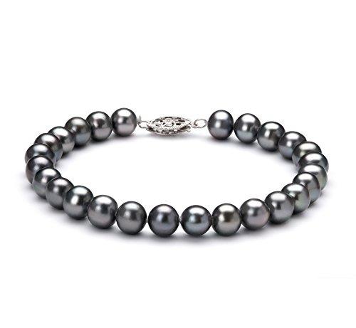 Black 6-7mm AA Quality Freshwater 925 Sterling Silver Cultured Pearl Bracelet-8 in (7mm Aa Freshwater Pearl Bracelet)