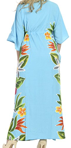 La Leela liscio dolce rayon vernice caftano lungo mano le donne-dono gratuito collana - serata informale abito da costumi da bagno camicia da notte spiaggia kimono coprire turchese