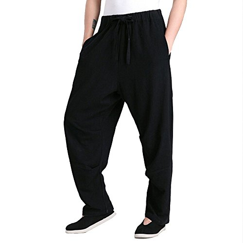 ZooBoo Men's Martial Arts Pants Kung Fu Linen Trousers Tang Suit Pants (XXL, Black)