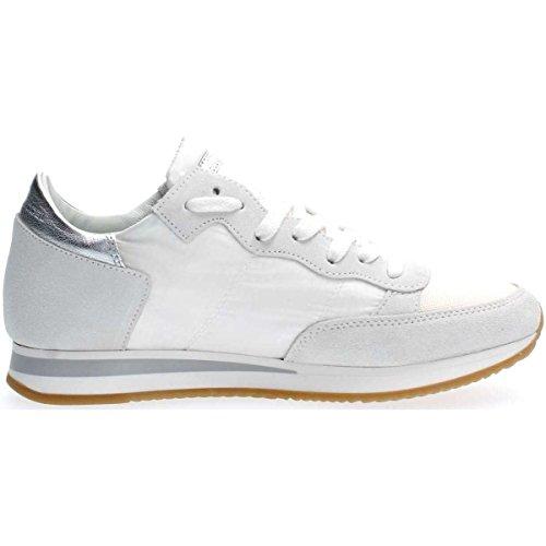 Bianco Sneaker Trld Colore Philippe Tela 1120 Tallone Pelle In Donna Mod Model Tropez Argento E wq4vEHaq