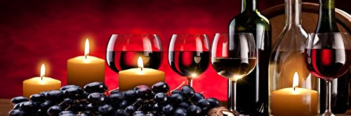 Homestreet Stylish Red Wine And Candle LED Light Up Wall Art 60x20cm
