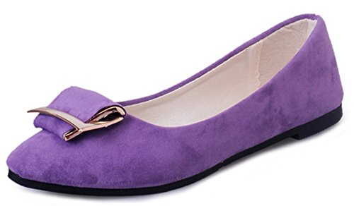 Aisun Women's Casual Pointy Toe Slip On Loafers Purple JJVGZAm