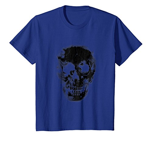 Kids Group Halloween Costume T Shirt Cool Skull Head Skeleton Fun 10 Royal Blue