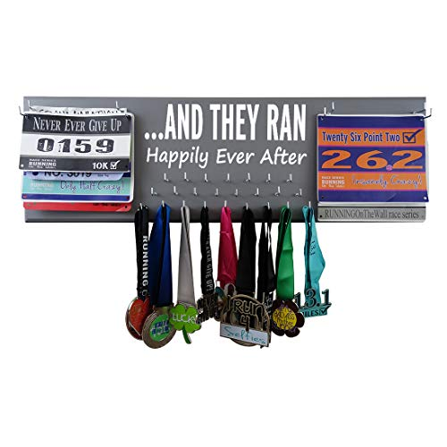 RunningontheWall Valentines Day Runners Medal Rack and Bib Hanger Valentines Gift for Running Couples Family and Loved Ones .and They Ran Happily Ever After Double Race Bibs Medal Holder Design