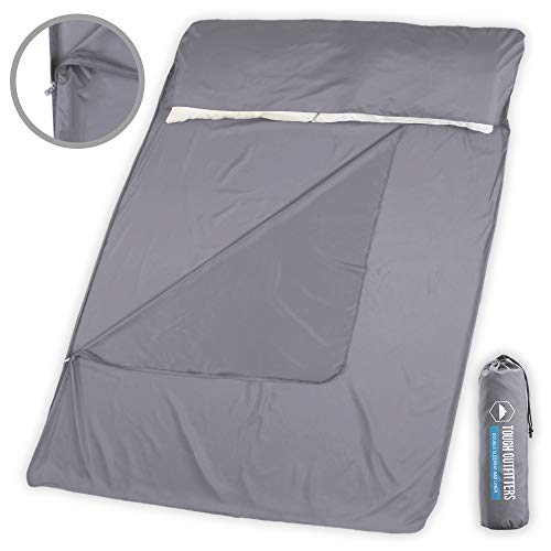 (Tough Outdoors XL Sleeping Bag Liner - Travel Sheet & Sleep Sack for Adults - Lightweight & Ideal for Camping, Traveling, Hotels & Backpacking - Smooth & Silk Like Material)