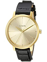Nixon Women's A1082143 Kensington Gold-Tone Watch with Black Genuine Leather Band