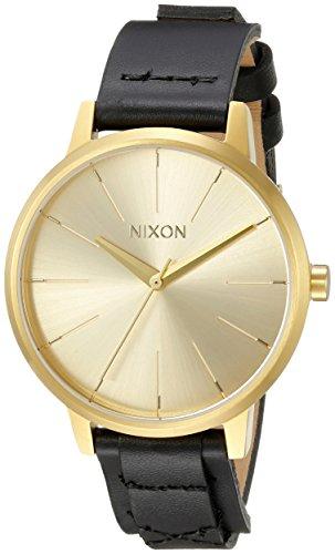 Nixon Women's A1082143 Kensington Gold-Tone Watch with Black Genuine Leather Band 41BIKT2dkgL