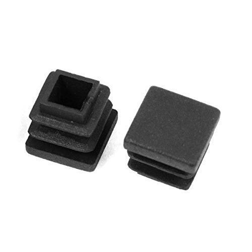 TOOGOO 12 Pc 16mm x 16mm Square Striated Plastic Table End Plugs Inserted Tube Black by TOOGOO (Image #3)