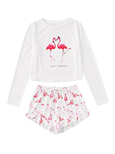 DIDK Flamingo Print Long Sleeve Tee and Shorts Pajama Set, White & Pink, X-Small