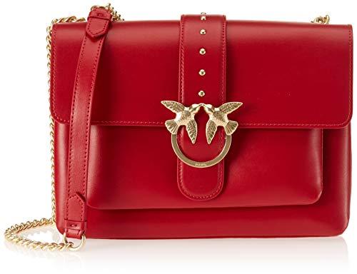 Pinko Big Love Simply Tracolla Vitello Seta, Borsa a Spalla Donna, 8x25x31 cm (W x H x L) Rosso (Rosso Jolly)