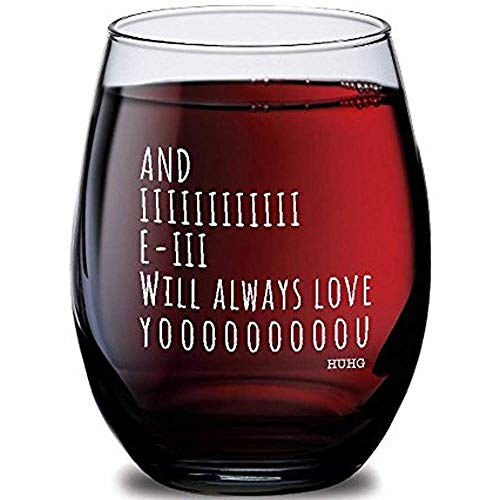 (And I Will Always Love You Stemless Wine Glass, Perfect Birthday Gift Idea for Wife, Personalized Wine Glass, Mother's Day & Valentine's Day Gift, Novelty Wine Glasses, Party Supplies or Decorations,)
