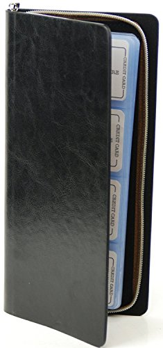 96 Count Credit Card /Business Card Holder with Zip Around Closure (96 Cards, Black)