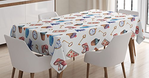 Ambesonne Alice in Wonderland Decorations Tablecloth, Cupcakes Mushrooms Bottles Hanging in Sky Alice Magic Dessert Fairy Tale , Rectangular Table Cover for Dining Room Kitchen, 60×90 Inches, Multi
