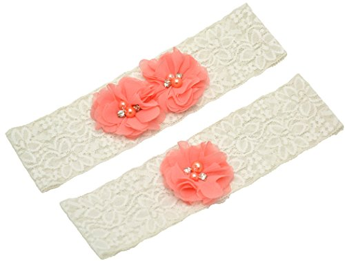 Wishprom Ivory Lace Wedding Garter Coral Chiffon Flower Vintage Toss Garter (L / 21-22 Inches) (Inspired Wedding Vintage Garter)