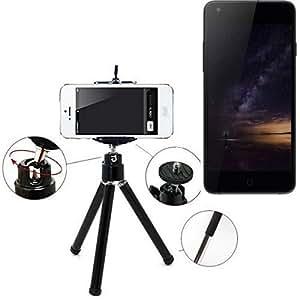 Smartphone trípode / soporte móvil / trípode como para Siswoo I8 Panther. Trípode de aluminio / trípode con soporte para el teléfono móvil, universal para todos los teléfonos inteligentes y las cámaras comunes. De color negro. Aferrarse trípode adaptador