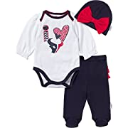 Gerber Childrenswear NFL Houston Texans Girls Long Sleeve Bodysuit, Footed Pant & Cap Set (3 Piece), 3-6 Months, Navy