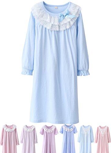 (Abalacoco Girls Kids Princess Lace Nightgown Long Sleeve Cotton Sleepwear Dress Pretty Homewear Dress (14-15 Years,)