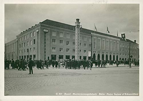 Vintage photo of fair building Basel switzerland.