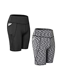 INIBUD 1/2 Pack Womens Yoga Shorts Bike Cycling Running Workout Tights with Pocket
