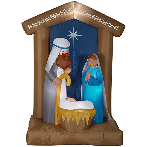 Home Accents Holiday 6.5 ft. Pre-lit Inflatable Nativity with Archway Airblown Scene