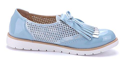 Schuhtempel24 Damen Schuhe Halbschuhe Flach Cut Out/Zierschleife Blau