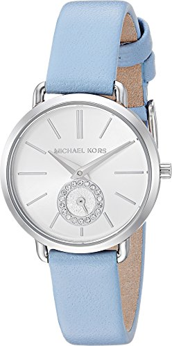 Michael Kors Women's Quartz Stainless Steel and Leather Casual Watch, Color:Blue (Model: - Kors Shop Michael For
