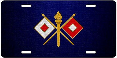 ExpressItBest Premium Aluminum License Plate - U.S. Army Signal Corps, branch insignia
