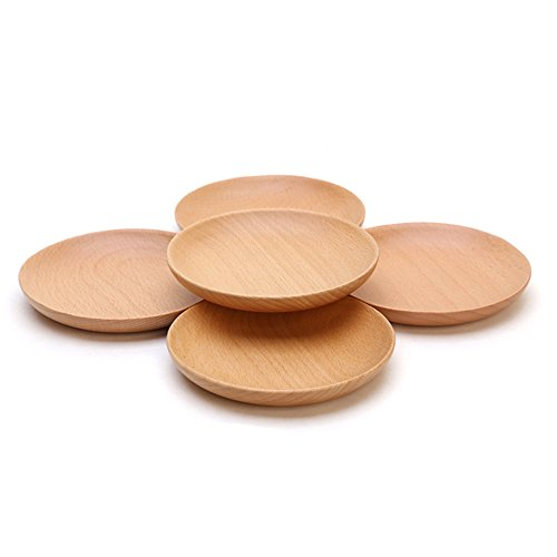 XDOBO Natural Beech Wood Serving Dishes - Handmade Mini Dessert Plates - Safe and Eco-friendly - Pack of 4 (4)
