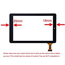 Baiyea Repair Replacement Part Touch Screen Digitizer Glass Panel for RCA Viking Pro 10 RCT6303W87 RCT6303W87DK 10.1 Inch Tablet PC (Black 18mm)